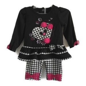 Nannette girls2 piece houndstooth heart with bows